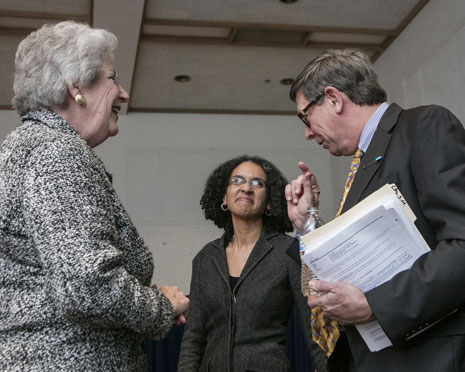 Professor Rory Little with Justice Carol Corrigan '75 and Justice Leondra Kruger at the California Supreme Court Conference.