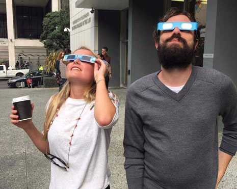 UC Hastings students catching a glimpse of August's solar eclipse on the Beach. Sometimes your future is so bright