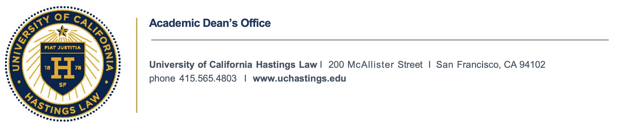 seal and Academic Dean's Office Contact info